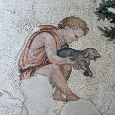 Child with dog. Roman mosaic, Palace Mosaic Museum, Istanbul.